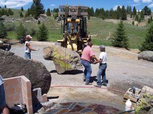 Montana Landscape Construction - fire pit and boulders