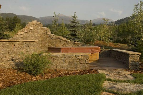 Southwest Montana Hardscape - stone hot tub patio