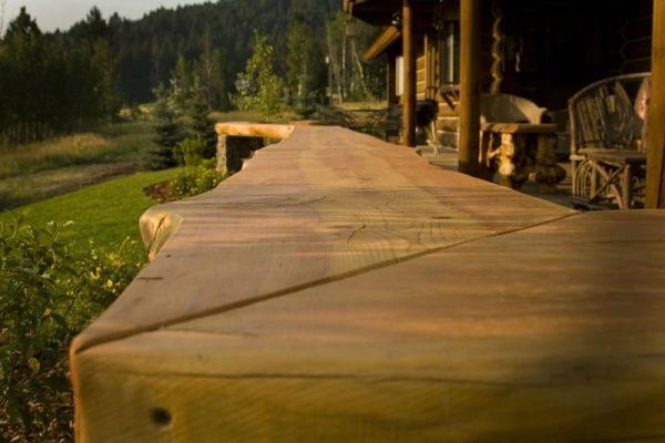 Southwest Montana Hardscape - live edge wood bench